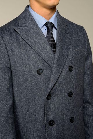 light blue double-breasted coat Angelico