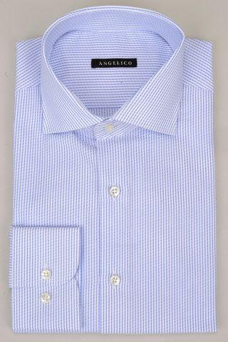 camicia bianca riga blu spezzata Angelico