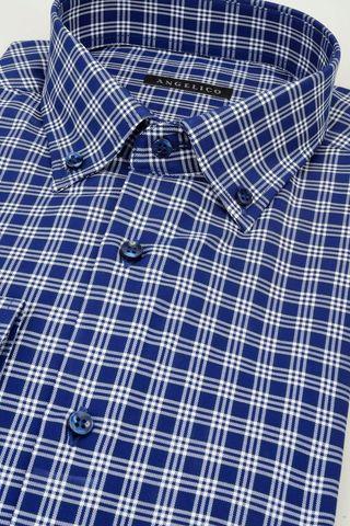 camicia blu scozzese bianca bd jaspè Angelico