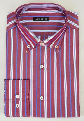 camicia prugna righe differenziate blu bd Angelico