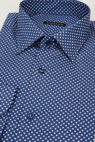 blue shirt with white stars pattern Angelico