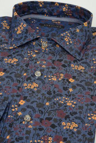 camicia blu fiori senape washed slim Angelico