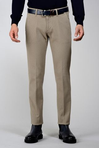 khaki trousers honeycomb fabric slim Angelico