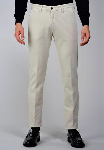 ivory trousers honeycomb fabric slim Angelico