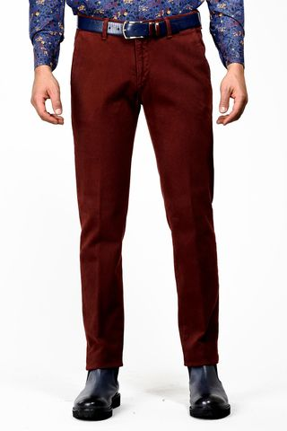 wine trousers honeycomb fabric slim Angelico
