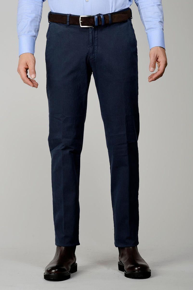 pantalone blu cotone effetto rigato Angelico