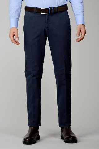 blue trousers cotton striped effect Angelico