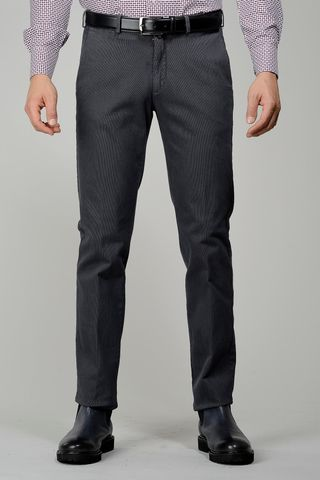 lead grey trousers cotton striped effect Angelico