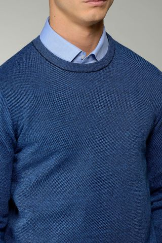 royal blue sweater salt- pepper Angelico