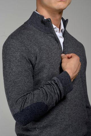 dark grey high zip collar neck sweater Angelico