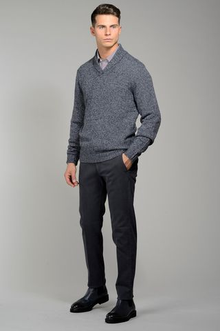 blue jeans sweater shawl collar Angelico