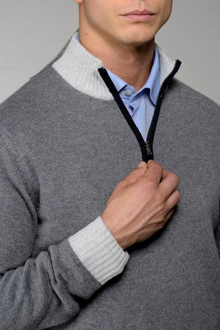 medium gray zip neck sweater with pearl collar Angelico