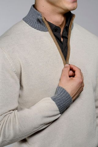 natural zip neck sweater with grey collar Angelico