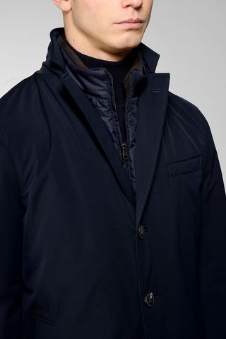 navy technical coat detatchable bib Angelico