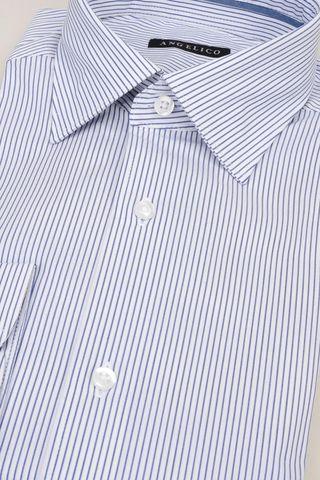 camicia bianca riga fine navy slim Angelico