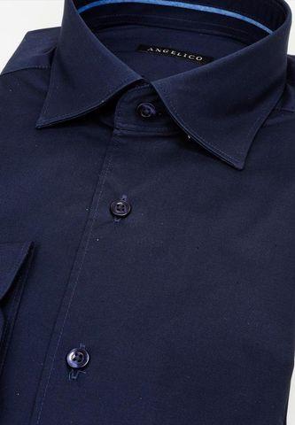 camicia blu elasticizzata collo italiano slim Angelico