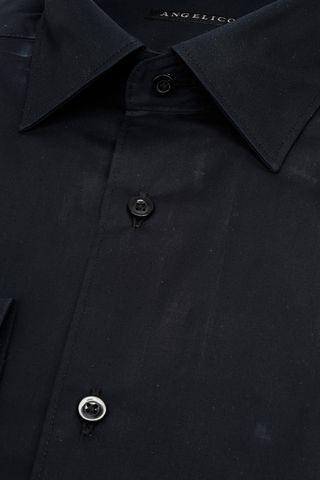 camicia nera elasticizzata collo italiano slim. Angelico