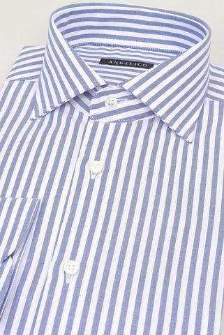 white shirt  medium blue stripes Angelico