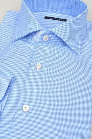 camicia azzurra armatura micro-quadretto Angelico
