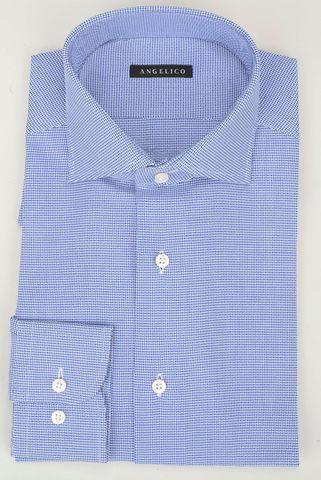 camicia blu armatura intreccio slim Angelico