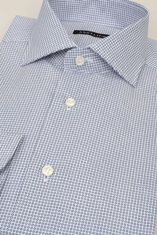 white shirt with navy checkered print slim Angelico