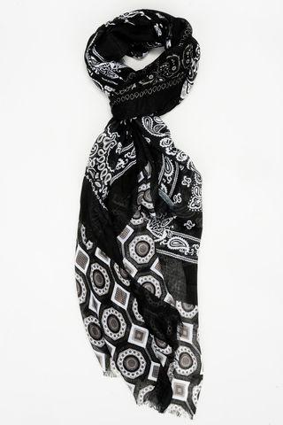 sciarpa nera-beige motivi geometrici Angelico