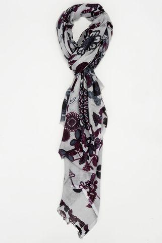 sciarpa grigia-prugna motivi fiorati Angelico