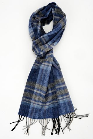 sciarpa azzurra-grigia scozzese lana Angelico