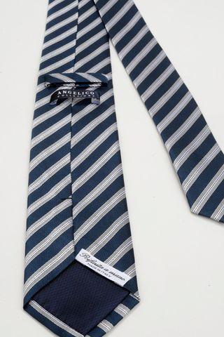 cravatta blu rigata perla seta Angelico