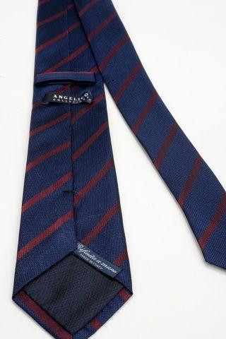 cravatta blu righe rosse seta Angelico