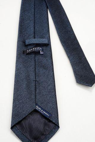cravatta blu jeans seta Angelico