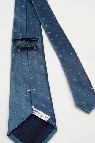teal blue tie with purple flowers Angelico