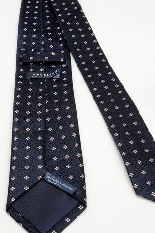 cravatta blu fiori perla Angelico
