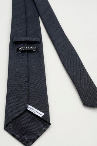 cravatta grigio medio lana-seta operata Angelico