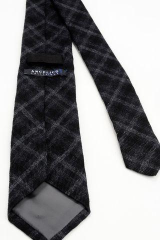 cravatta nera scozzese grigio lana-seta Angelico