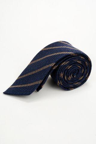 cravatta blu righe nocciola lana-seta Angelico