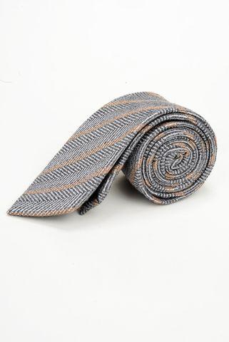 Cravatta grigio chiaro righe nocciola lana-seta Angelico