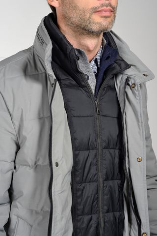 grey eco-down padded heavy-jacket. Angelico