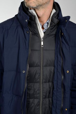 blue eco-down padded heavy-jacket Angelico