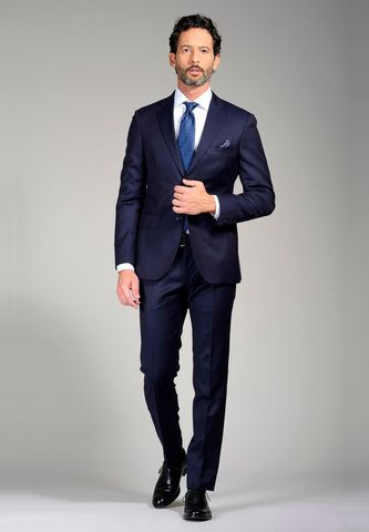 Navy suit Tasmania wool slim Angelico