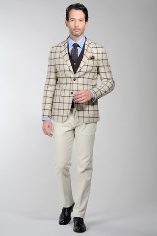 beige-brown checkered jacket wool Angelico