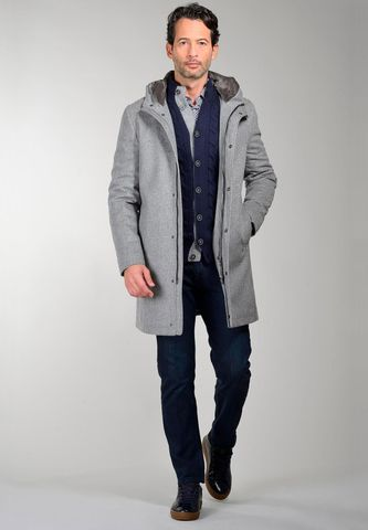 grey checked hooded coat with fur Angelico