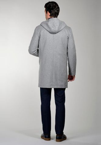 cappotto grigio quadretti cappuccio e pelliccia Angelico