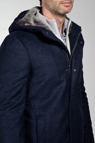 blue checked hooded coat with fur Angelico