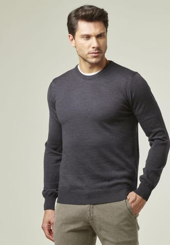 charcoal gray round neck pullover merinos Angelico