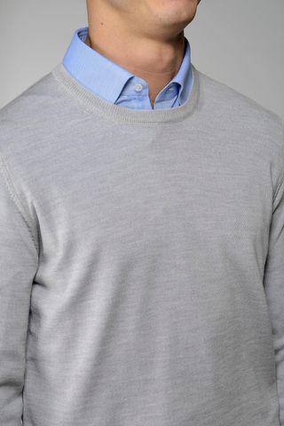 light grey round neck pullover merinos Angelico