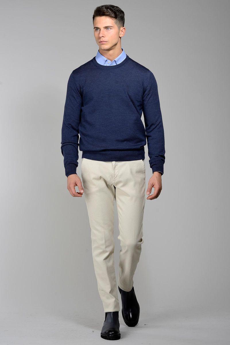 maglia blu jeans girocollo merino Angelico