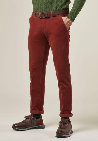 pantalone coccio scuro fustagno operato slim Angelico