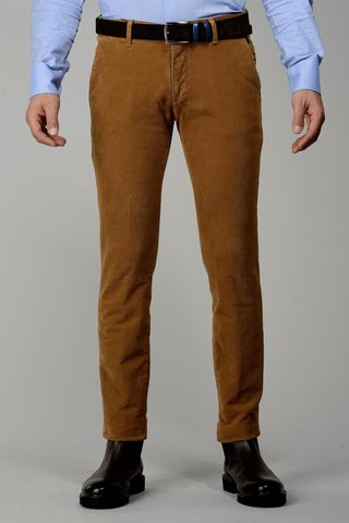 ocher trousers structured fustian slim Angelico
