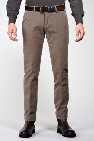 dark beige trousers structured fustian slim Angelico